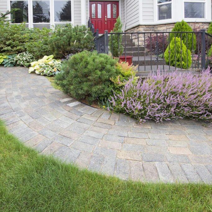 a walkway made of brick stone