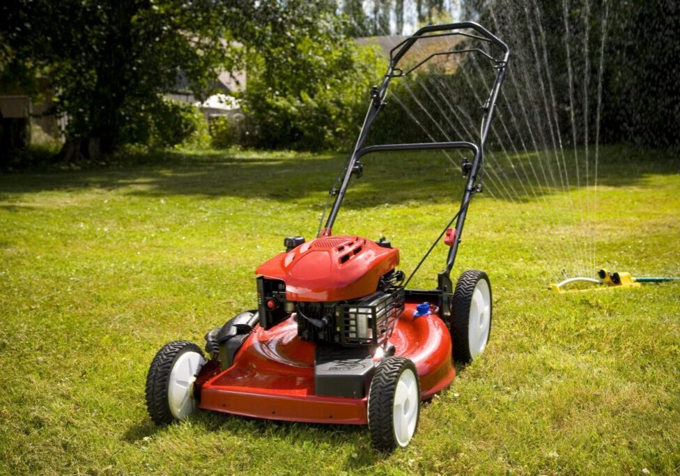 a red mowing machine